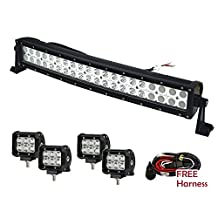 Serpeo 32 Inch 180W Curved LED Light Bar Flood-Spot Combo Beam IP68 Waterproof Offroad Truck SUV UTE Jeep Boat 4WD Driving Light With 4 Pcs 4 Inch 18W LED Light and Wiring Harness