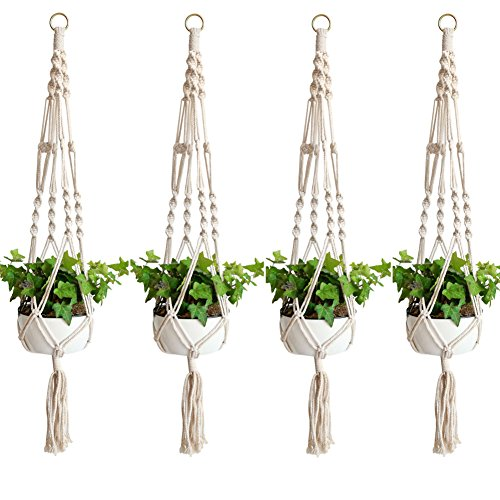 Accmor Elegant Plant Hanger Set of 4, 4 Legs 39 Inch Pure Macrame Handmade Cotton Rope Balcony Patio Deck Ceiling Plant Holder for Round & Square Pots, Bohemian Style& Unmatched ()