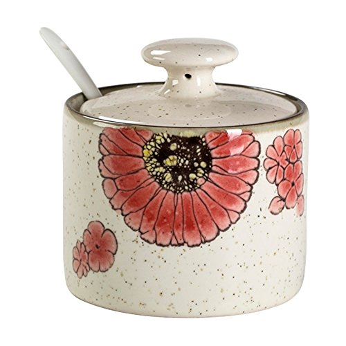 CHOOLD Countryside Floral Bird Ceramic Spice Jar with Lid Spoon Seasoning Box Condiment Pots Spice Racks for Kitchen Housewarming Gift