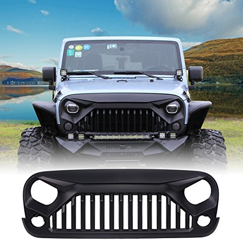 U Max Front Matte Black Gladiator Grid Grill For Jeep