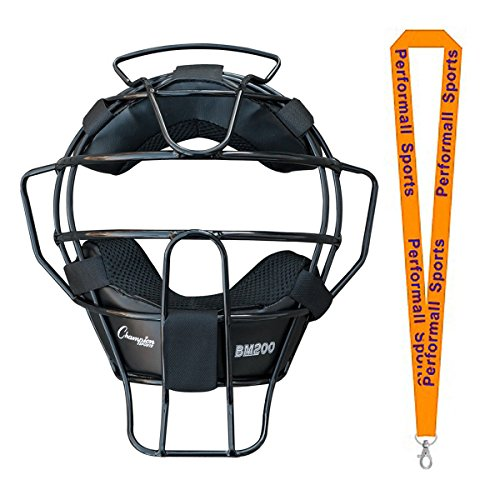 Champion Sports Umpire Lightweight Umpire Face Mask Black with 1 Performall Lanyard BM200BK-1P by Performall Sports Baseball Umpire Gear