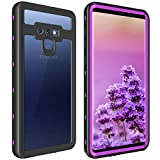 ShellBox for Galaxy Note 9 Waterproof Case, Shockproof Snowproof Cover IP68 Underwater Full Body Protection Crystal Clear Built-in Screen Protector Case for Note 9 (G(Purple))