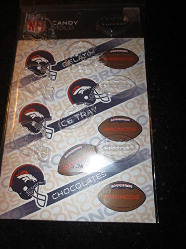 NFL DENVER BRONCOS CHOCOLATE MOLD gelatin ice cubes candy football molds ()