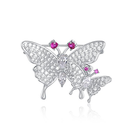 Brooch Dress Butterfly (Mytys CZ Crytsals Butterfly Brooches Pin Lapel Pin for Women Sliver Plated Insect Brooch Pins Jewelry Gifts for Holiday)