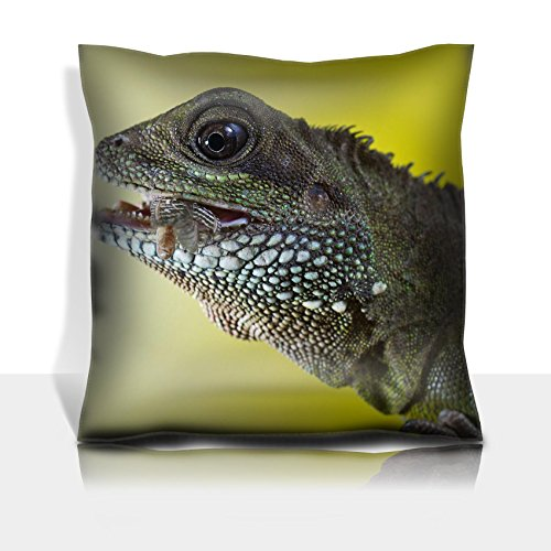 Liili Throw Pillowcase Polyester Satin Comfortable Decorative Soft Pillow Covers Protector sofa 16x16, 1pack Close up portrait of beautiful water dragon lizard reptile eating an insect Photo