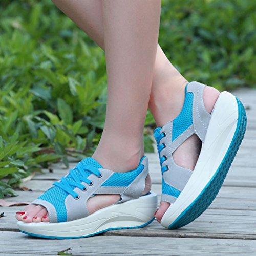 Toe Up da Traspirante Peep Piattaforma Scarpe Zeppa Lace Sneakers con Sandali Scarpe Donna Ginnastica Tennis da Blu Plateau Scarpa con LINNUO 6B8qSw