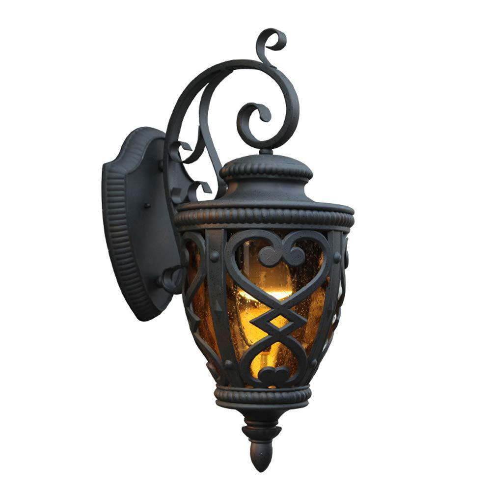 Lanterna da parete per esterni americano Down Light Metallo nero Impermeabile IP44 Lampada da parete pilastro per porta Cortile Esterno Terrazzo Balcone Corridoio Corridoio Applique da parete