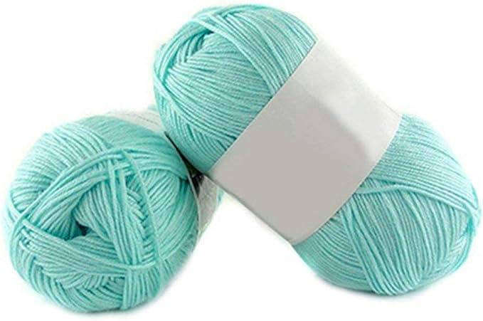 1 lana de bambú para tejer de 50 g por madeja de algodón suave de punto para bebé Amesii #11 Lake Blue: Amazon.es: Hogar