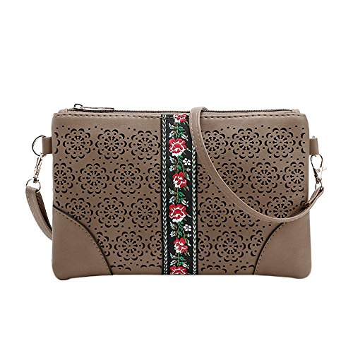 Hippie Khakis (GBSELL Women Hippie Embroidered Leather Purse Cross Body Shoulder Messenger Bag (Khaki))