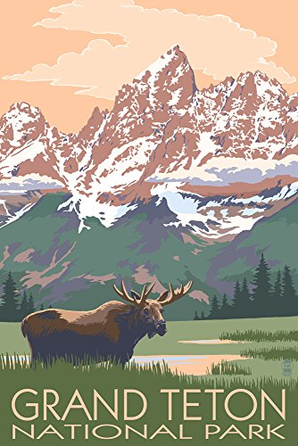 Grand Teton National Park, Wyoming - Moose and Mountains (12x18 Art Print, Wall Decor Travel Poster) ()