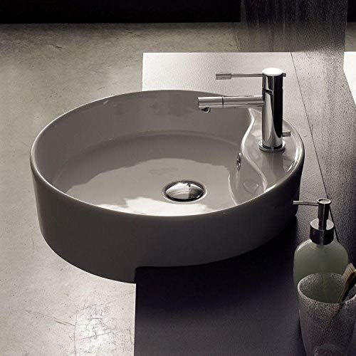 Scarabeo 8029/D-One Hole-637509854911 Round Semi-Recessed Ceramic Sink, White
