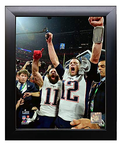 (Framed New England Patriots Tom Brady & Julian Edelman Celebrate Victory Of Super Bowl LIII. 8x10 Photo Picture. (duo))