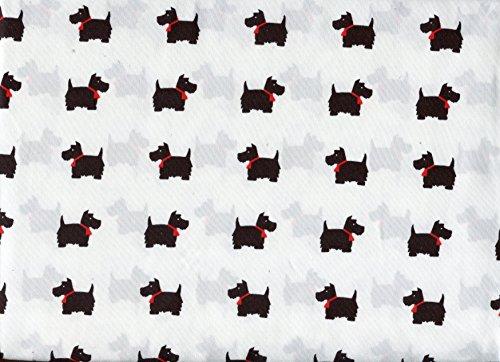 - Hillcrest Black Scottie Scotty Dogs on White Microfiber Sheet Set Full