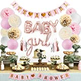 Toys : Sweet Baby Co. Pink Baby Shower Decorations for Girl with Its A Girl Banner, Baby Girl Letter Balloons, Flower Pom Poms, Paper Lanterns, Tassels (Rose Gold, Pink, Ivory, White Sprinkle Set)
