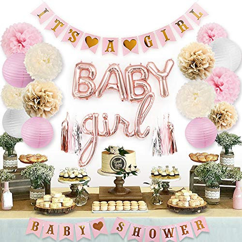 Sweet Baby Co. Pink Baby Shower Decorations For Girl With It's A Girl Banner, Baby Girl Foil Letter Balloons, Flower Pom Poms, Paper Lanterns, Tassels (Rose Gold, Pink, Ivory, Taupe, White) | Baby Shower Decorations Set