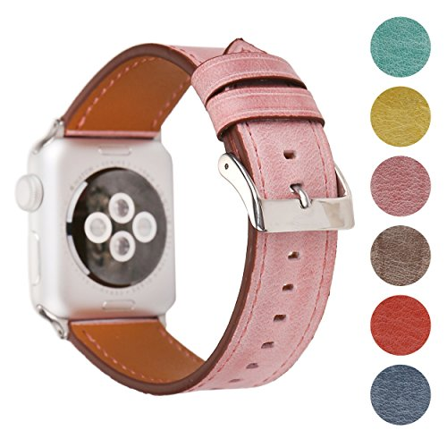 Pantheon Leather Apple Watch Replacement Band for Women by, Strap is 38mm or 42mm, fits Apple iWatch 3, 2, 1 and Nike Edition (Pink, (Pnk Pink Leather)
