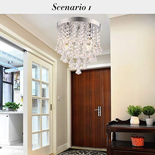 Fy-Light Chandelier, Crystal Pendant Light,2-Light Modern Minimalist Ceiling Light Flush Mount Light for Living Room,Bedroom,Study, Corridor,Aisle