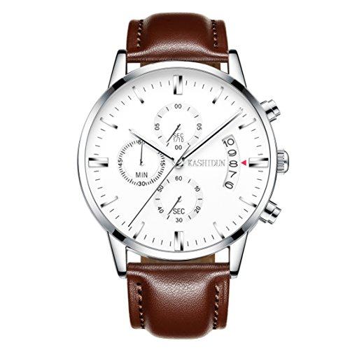 KASHIDUN Men's Watch Quartz Chronograph Waterproof Date Wrist Watch Leather Band Men Clock-White TL-YBZP Or Is Chronograph Wrist Watch
