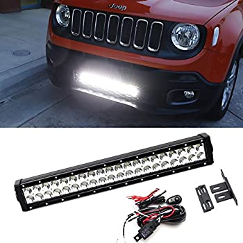 led light bar kit for 2015-up jeep renegade, includes (1) 120w high  power led lightbar, lower bumper grill mounting brackets & on/off switch  wiring kit