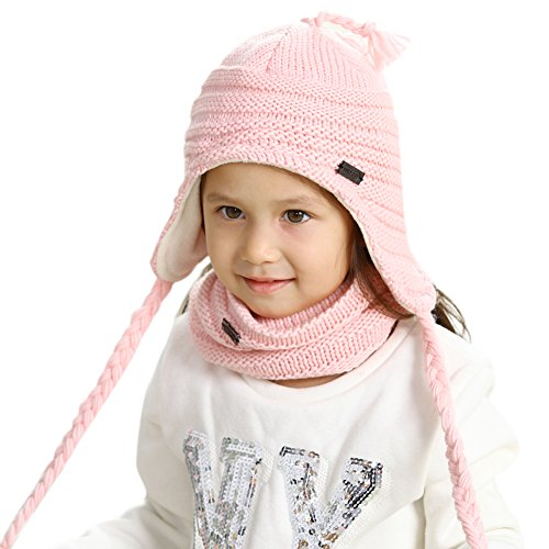 FURTALK Toddler Winter Hat Scarf Set Boys Girls Fleece Lined Knit Beanie Kids Hat with Earflap ()