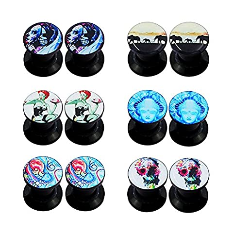 Longbeauty 6Pairs Mixed Patterns Punk Acrylic Screw Tunnel Stretcher Ear Stretcher Kit Piercing (Skull 0 Gauges)