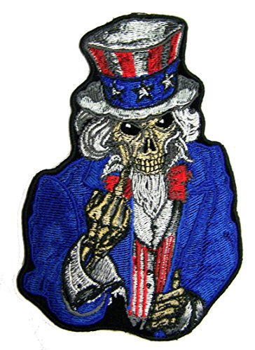 (UNCLE SAM SKELETON WITH MIDDLE FINGER biker Embroidered 5 Inch Jacket Patch - Iron on Backing or Sew On)