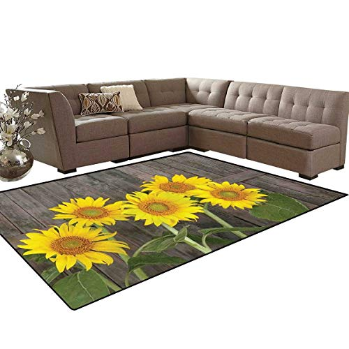 Sunflower Bath Mat 3D Digital Printing Mat Helianthus Sunflowers Against Weathered Aged Fence Summer Garden Photo Extra Large Area Rug 6'6