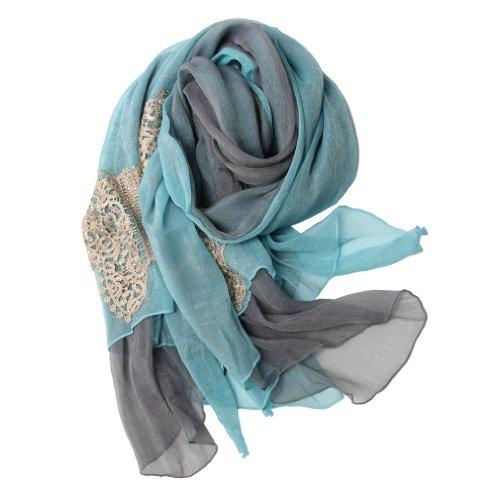Scarfand Fancy Crystal & Inlaid Applique Chiffon Scarf (Fancy Light Blue)