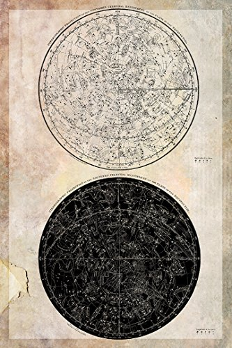 Retro Celestial Atlas Constellation Map (Northern and Southern Hemispheres) 24