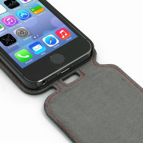 Apple iPhone 5s Ultra Thin Leather Case / Cover (Handmade Genuine Leather) - Flip Top Type (Black/Floater Pattern) by Pdair