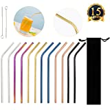 SUBANG 12 Pack Stainless Steel Straws Metal Drinking Reusable Straws with 2 Brushes And Carry Bag