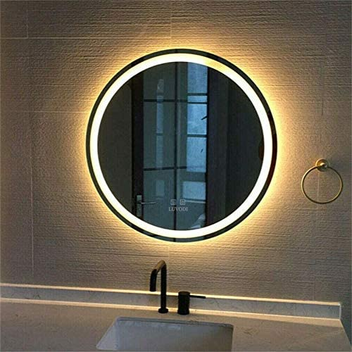 Round Wall Mirror for Bathroom 24 Inch LED Large Circle Mirror 60 60cm Round Vanity Modern Mirror with Anti Fog and Dimmable Function