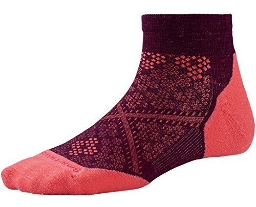 Smartwool Women's Phd Run Light Elite Low Cut Socks (Aubergine/ Bright Coral) Small