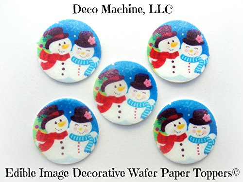 24 Edible Image Decorative Wafer Paper Toppers © Christmas Mr. and Mrs. Frosty Snowman Small Circle Pre-cut 1.5