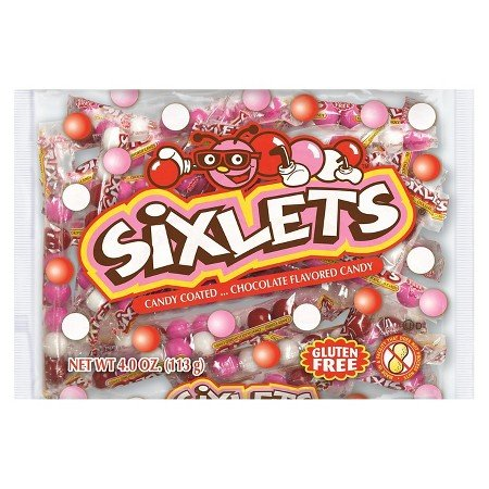 Sixlets Gluten Free Individual Valentines Candy Coated Chocolate Flavored Candy 4oz (Pack of 2)