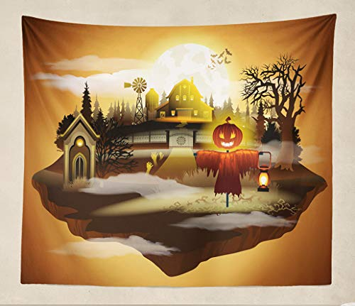 ONELZ Wall Art Tapestry Wall Hanging Halloween Greeting Dark Castle Sunset Skywall Decor Tapestries Wall Blanket(50 x 60 inch) ()