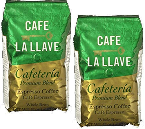 2 pack - Cafe La Llave Premium Blend Coffee Whole Bean. 2 lbs. bags