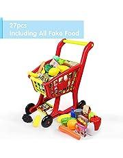 Nuheby Carrito de Compra Infantil Supermercado de Juguetes con Frutas Vegetales y Alimentos Falsos Juguete de Cocina en Miniatura 3 Años Juguete Educativo Temprano (27 Piezas)
