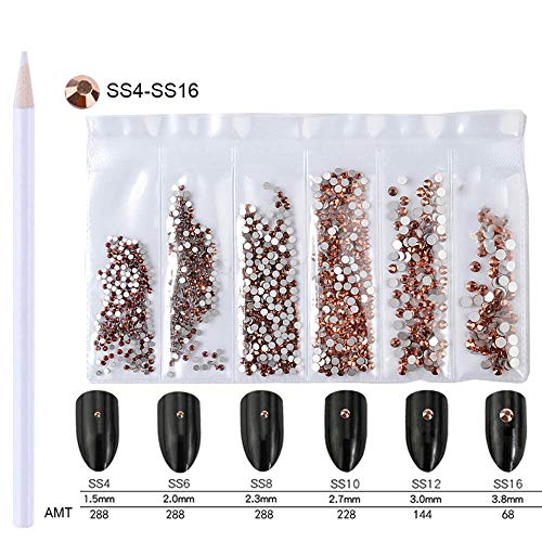 (WOKOTO Nail Art Jewelry Ab Rhinestones Flat Back 3d Decorations For Nails With Picker Pencil Mix-Size SS4-SS16 Flatback Rose Gold Crystal Fake Diamonds)