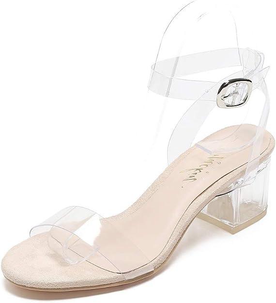 DREAM PAIRS Women/'s Open Toe Ankle Strap Clear Low Block Heel Sandals Pump Shoes
