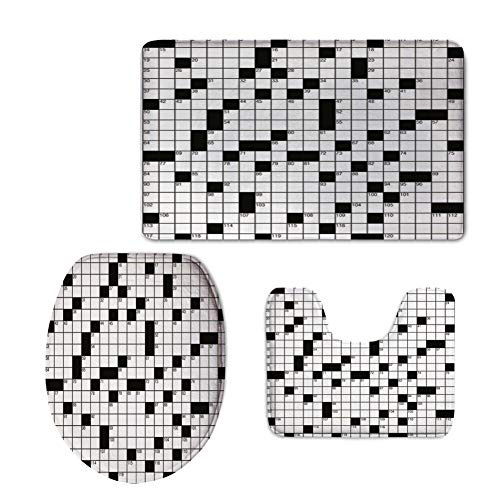 Fashion 3D Baseball Printed,Word Search Puzzle,Classical Crossword Puzzle with Black and White Boxes and Numbers Decorative,Black and White,U-Shaped Toilet Mat+Area Rug+Toilet Lid Covers 3PCS/Set