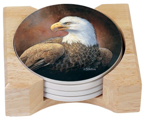 Absorbent Eagle Coasters in Wooden Holder, Set of 4