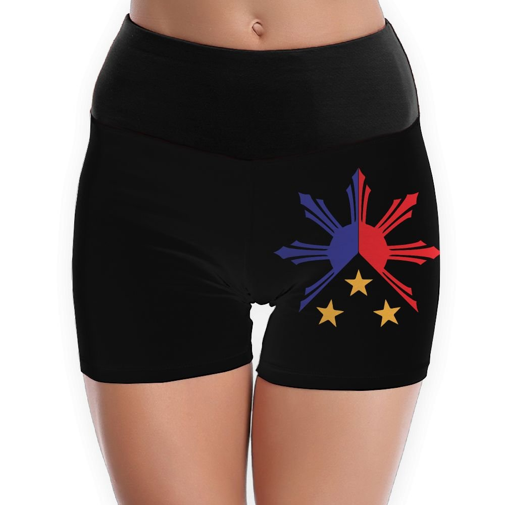 Tribal Philippines Filipino Sun and Stars Flag Womens High Waist Yoga Shorts Sport Workout Running Hot Shorts
