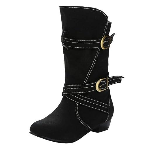 Kaizi Karzi Mujer Tacon Ancho Corto Botas Sin Cordones: Amazon.es: Zapatos y complementos