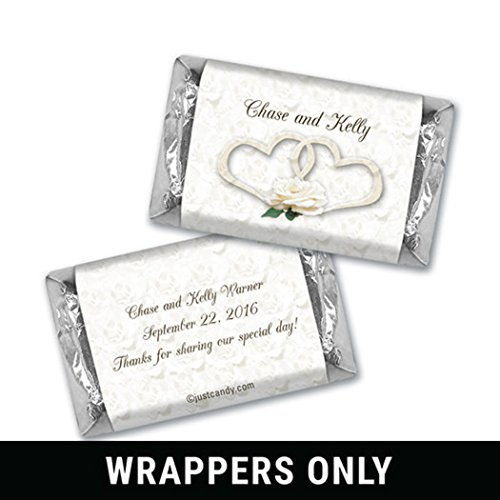 Wedding Favor Personalized Hershey's Miniatures Wrappers � Two Hearts (100 Count Wrappers) - Heart Wedding Hersheys Miniatures