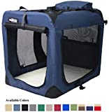 EliteField 3-Door Folding Soft Dog Crate, Indoor & Outdoor Pet Home, Multiple Sizes and Colors Available (36''L x 24''W x 28''H, Navy Blue)