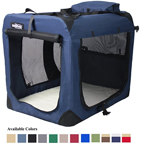 EliteField 3-Door Folding Soft Dog Crate, Indoor & Outdoor Pet Home, Multiple Sizes and Colors Available (36″L x 24″W x 28″H, Navy Blue)