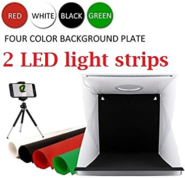 4 Colors Backdrops Switch USB Cable Portable Photo Studio Box for Jewelry and Small Items Built-in 2pcs 6000K LED Strips Light Box Photography 9 x 9 inches