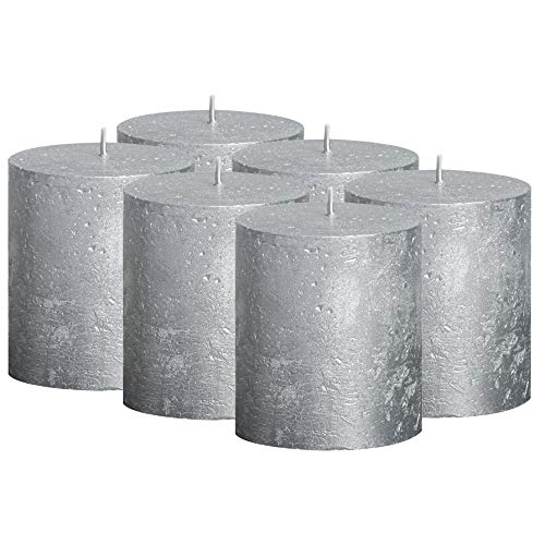 BOLSIUS Rustic Full Metallic Silver Candles – Set of 6 Unscented Pillar Candles – Silver Candles with a Full Metallic Coat – Slow Burning – Perfect Décor Candle – 80/68m ()