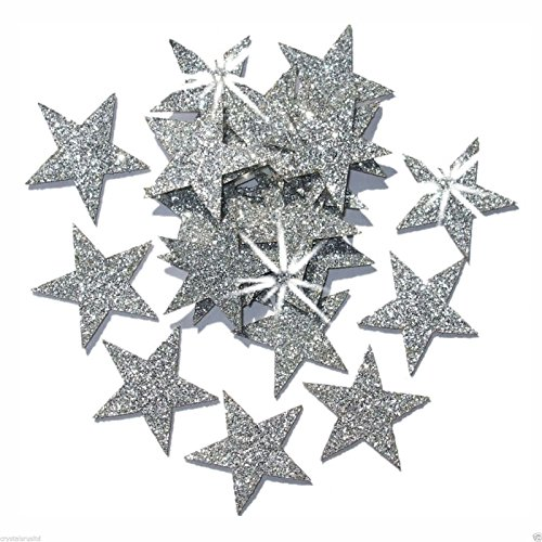 (Silver 25mm Self Adhesive Glitter Star Sticker card making craft Diy christmas)